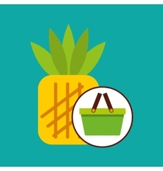 Commerce basket pineapple vector