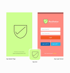 Company sheild splash screen and login page vector