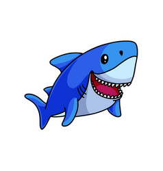 cute blue shark swimming in deep ocean and smile vector image