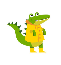 cute cartoon crocodile character walking wearing vector image