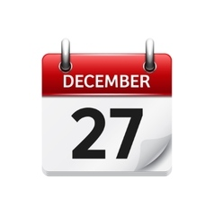 December 27 flat daily calendar icon vector