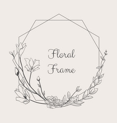 delicate floristic geometric frame vector image