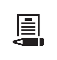 document with pen - black icon on white background vector image