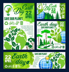 Earth day greeting banner of ecology conservation vector