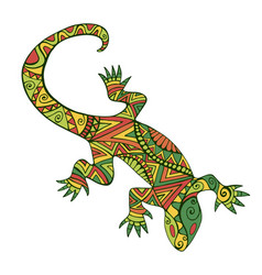 Ethnic colorful lizard with many ornaments vector