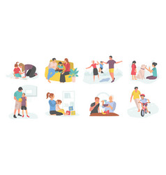 Family teaching kid mother and father with child vector
