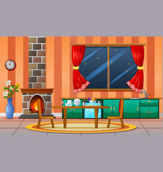 Fireplace living room family house interior furnit vector
