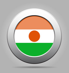 Flag of niger metal gray round button vector