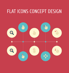 Flat icons rearward sensory single tap and other vector