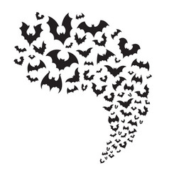 Flying bats flock creepy halloween fly from vector