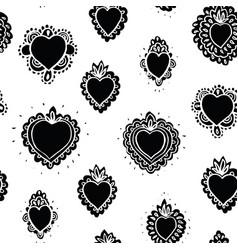 Folk art burning heart pattern vector
