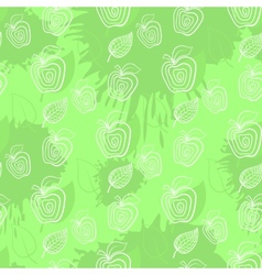Fresh apple Seamless pattern Applegreenleaf leafs vector image