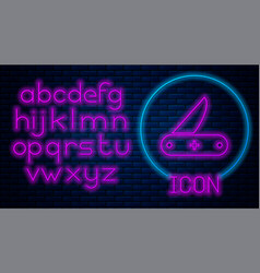 Glowing neon swiss army knife icon isolated on vector