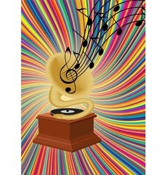 Gramophone playing music on colorful background vector