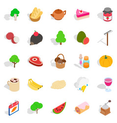 Grown food personally icons set isometric style vector