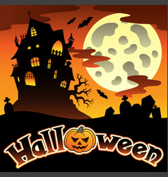 halloween scenery with sign 1 vector image