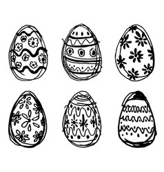 hand drawn easter eggs vector image
