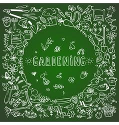 Hand drawn garden icons background vector