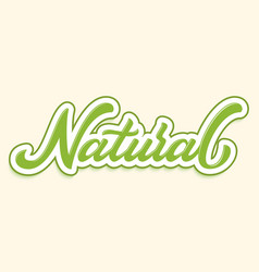 hand drawn lettering natural with outline and vector image