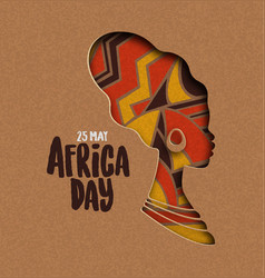 Happy africa day card african papercut woman vector