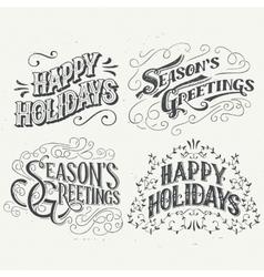 Happy Holidays hand drawn typographic headlines vector