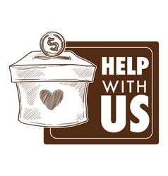 Help with us banner design for charity and vector