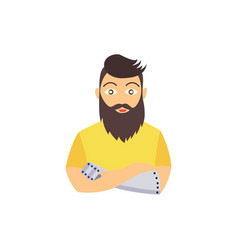 hipster bearded man with eye arm prosthesis vector image