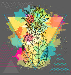 Hipster polygonal tropic fruit pineapple vector