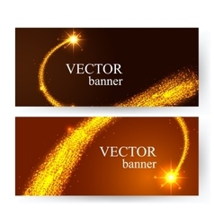 Horizontal golden banners with shining falling vector