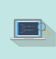 html website structure code program with laptop vector image