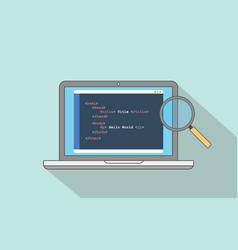 Html website structure code program with laptop vector