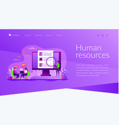 Human resources landing page template vector