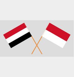 Indonesian and yemeni flags vector
