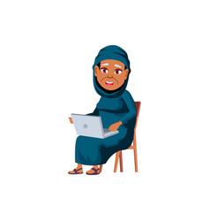 Islamic woman senior watching funny movie vector