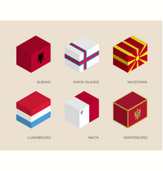 Isometric 3d boxes with flags of europe vector