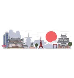 Japanese landscape banner with buildings sketch vector