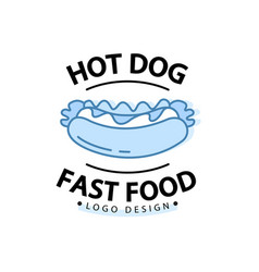 linear flat fast food badge banner or logo emblem vector image