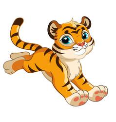 little jumping tiger cartoon character vector image