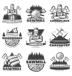 Lumberjack Monochrome Labels Set vector