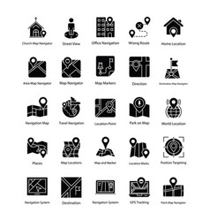 map and navigation glyph icons set vector image