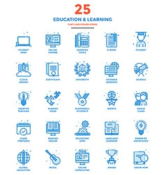 Modern Flat Line Color Icons Education and vector