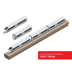 Modern high speed train isometric vector image