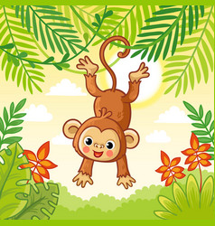 Monkey jumping on trees cute animal in a vector