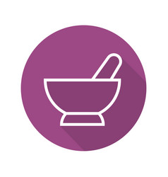 Mortar and pestle flat linear long shadow icon vector