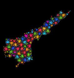 Mosaic andhra pradesh state map of multi-colored vector