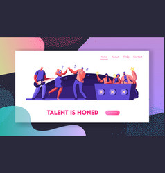 Music band presenting performance on stage vector