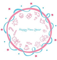 New Year Decoration Outline Icons Circle Frame vector image