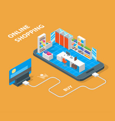 Online mobile shopping concept 3d isometric view vector