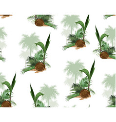 Palm trees and coconut floral seamless pattern vector