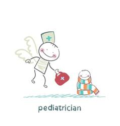 Pediatrician flies to a sick child vector